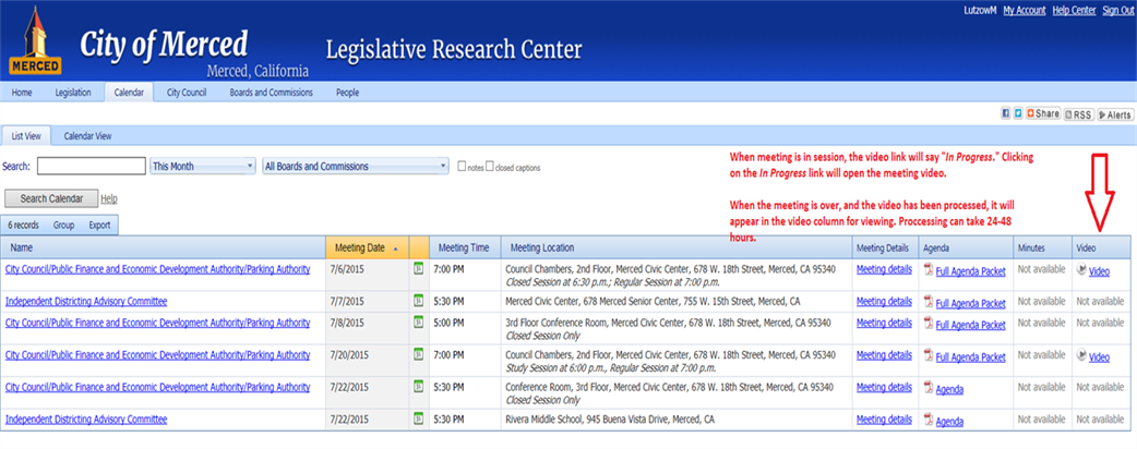 Screenshot of web portal; video links are in far right column