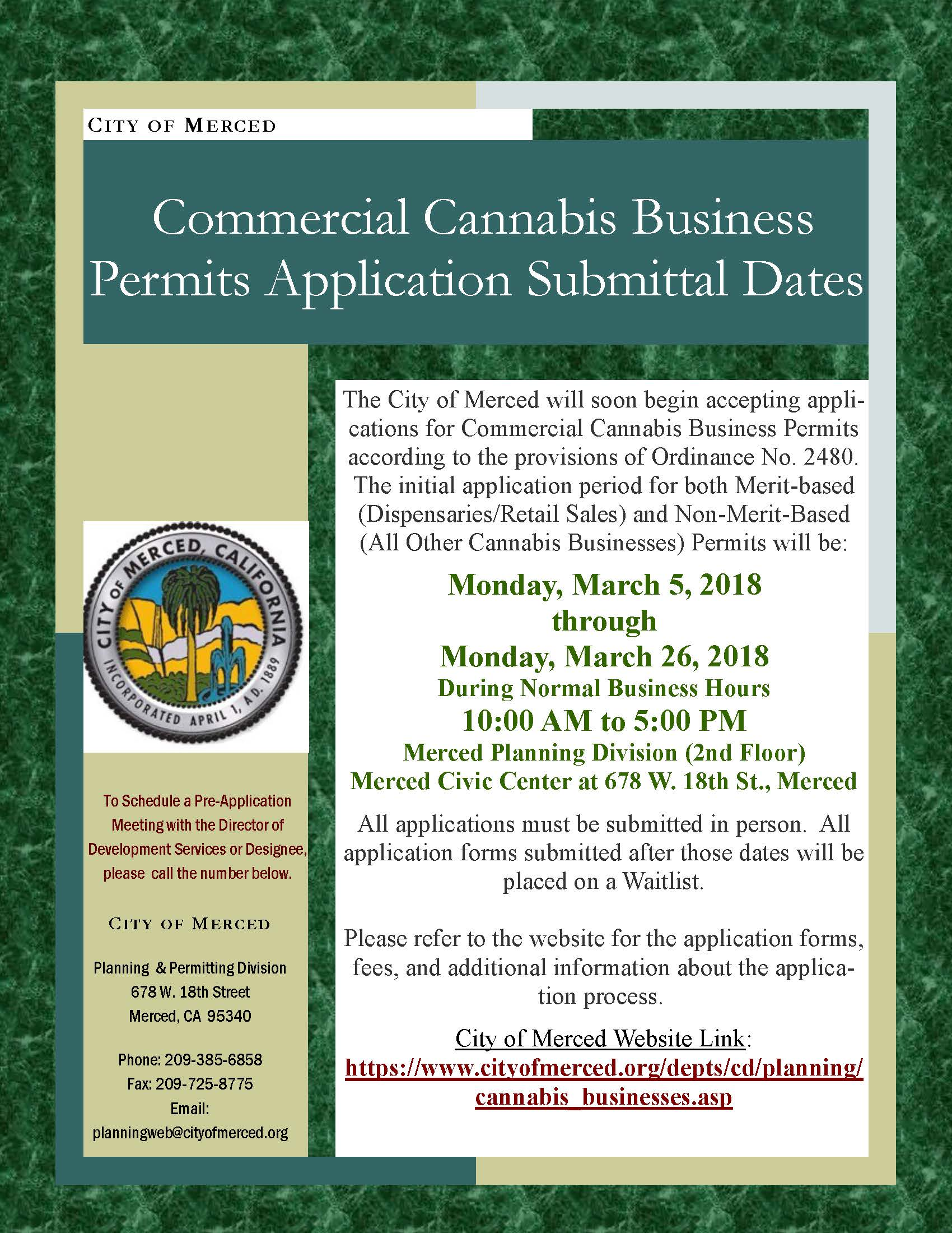 Commercial Cannabis Business Permits Application Submittal Dates flyer
