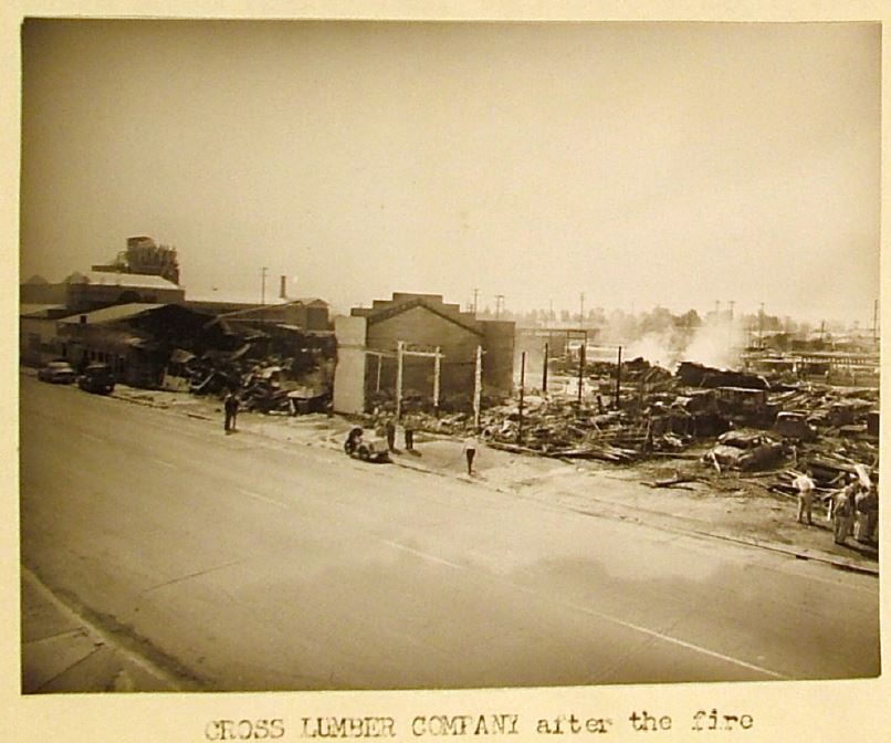 Cross Lumber Company after the fire