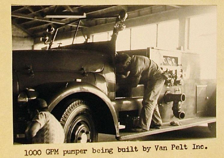 1000 GPM pumper being built by Van Pelt Inc.