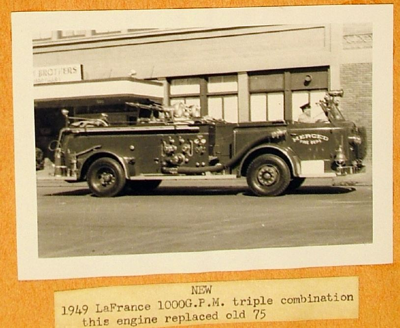 1949 LaFrance 1000 GPM Triple Combination, this engine replaced old 75