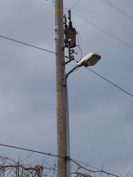 Wooden streetlight pole