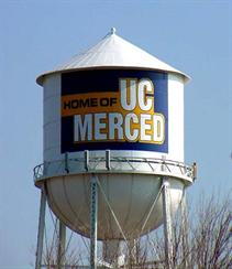 "Water tower reading ""Home of UC Merced"""