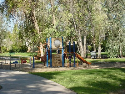 Playground shaded by trees