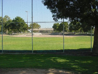 Ball field behind high fence